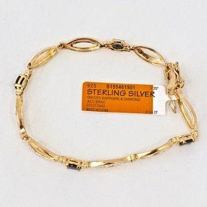 Jewelry - SAPPHIRE & DIAMOND~TENNIS BRACELET~GOLD pl SILVER